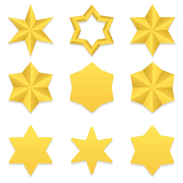six point stars collection - acute angle stock illustrations