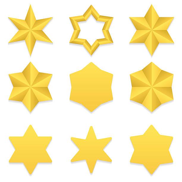 bildbanksillustrationer, clip art samt tecknat material och ikoner med six point stars collection - spetsig vinkel