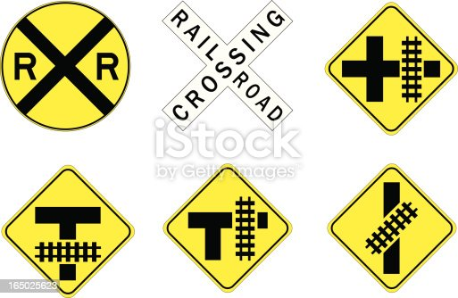 Various Rail Road crossing traffic signs.  Adobe illustrator file included.
