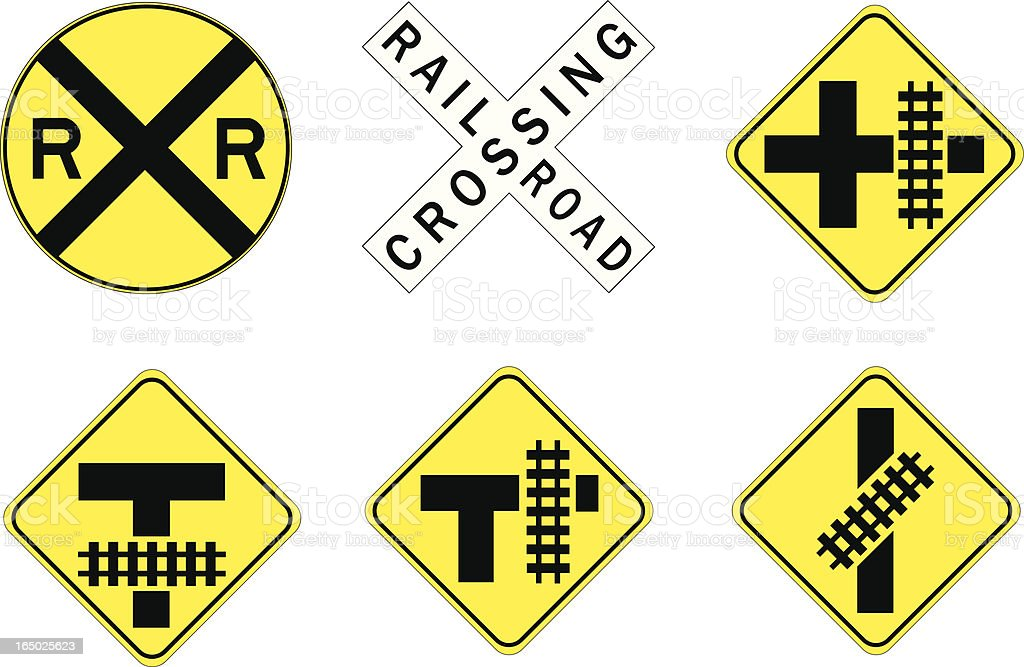 Six railway crossing road signs on yellow and black vector art illustration