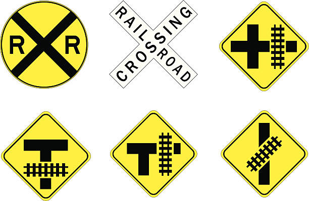six railway crossing road signs on yellow and black - crossing stock illustrations, clip art, cartoons, & icons