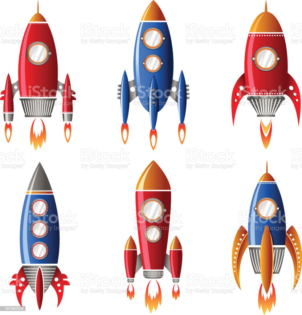 Six red and blue rocket designs royalty-free stock vector art