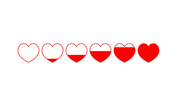 illustrazioni stock, clip art, cartoni animati e icone di tendenza di six red hearts increasing filling, from empty to full - pieno
