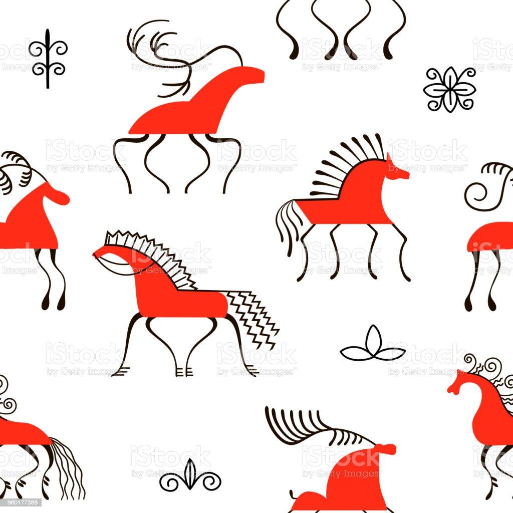 Six red horses seamless pattern. National scandinavian paintings. Folk handicrafts. Enchanting original ornaments. Simplicity. vector art illustration