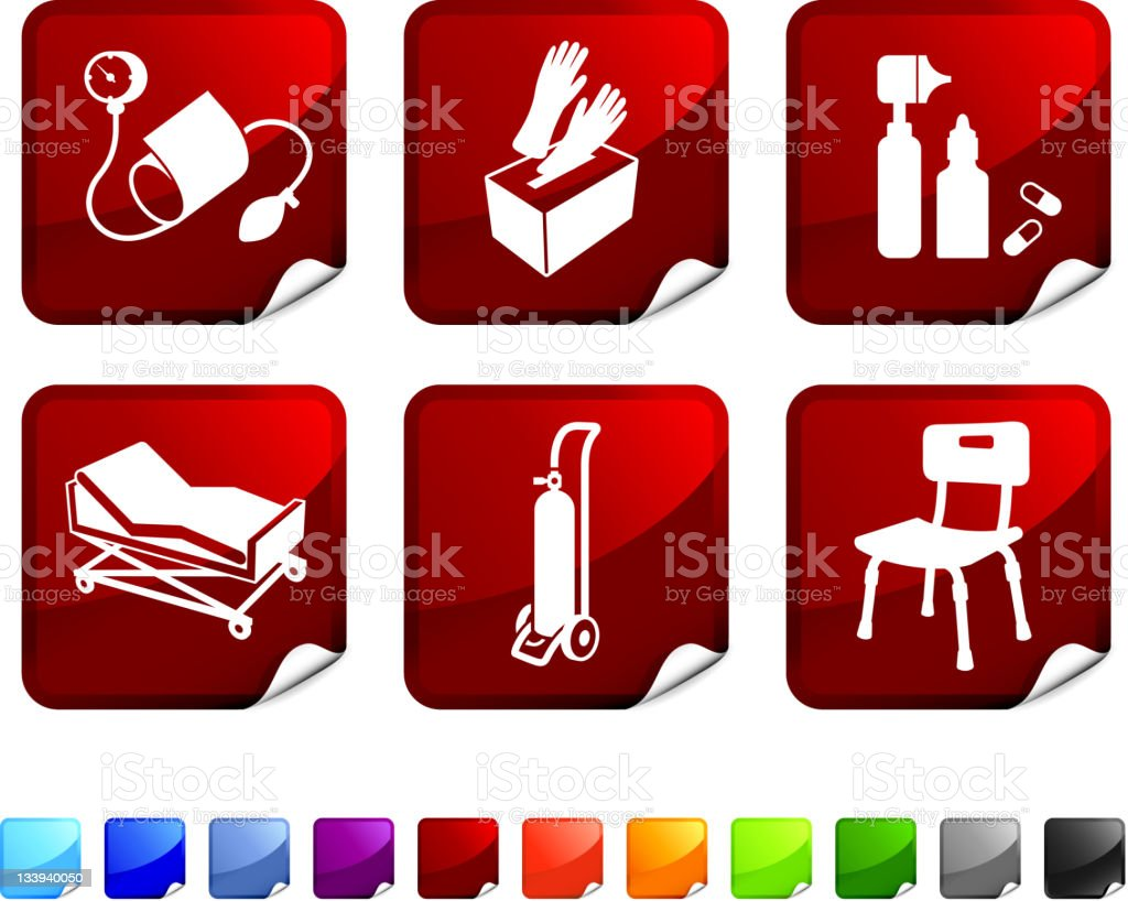 Six red, square stickers with medical supplies pictures.  royalty-free stock vector art
