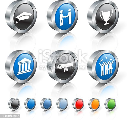 istock Six round, black and blue 3D icons with graduation theme.  116859467