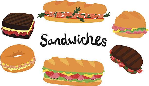 six sandwiches set - sub sandwich stock illustrations, clip art, cartoons, & icons