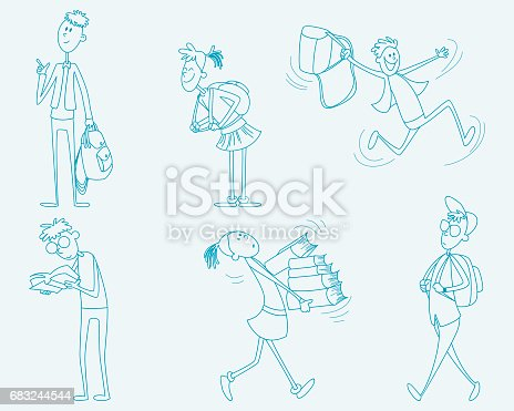 Six Schoolchild Set - Arte vetorial de stock e mais imagens de Aluno da Escola Primária 683244544