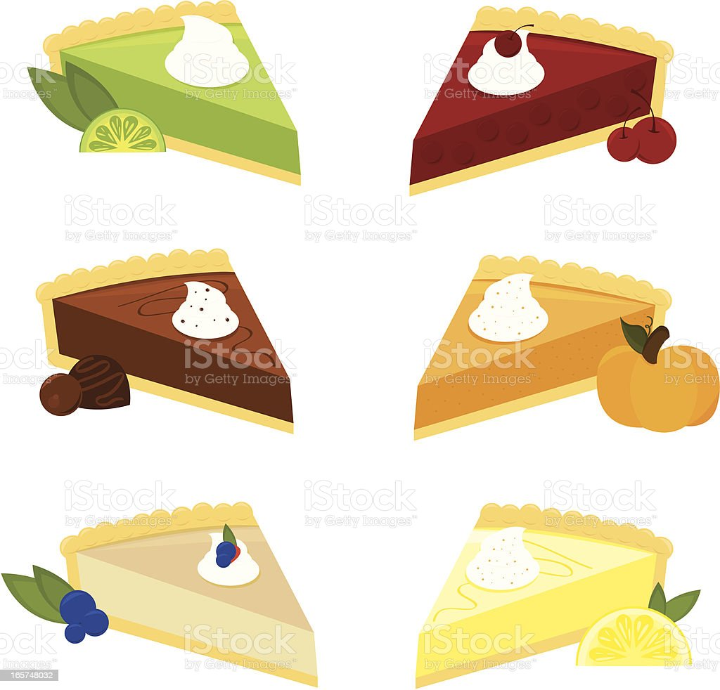 Six Scrumptious Pies royalty-free stock vector art