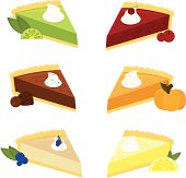 Six scrumptious pies: Key Lime, Cherry, Chocolate, Pumpkin, Cheesecake, and Lemon Meringue Pie.
