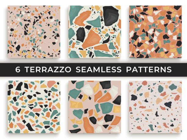 Six seamless terrazzo patterns. Hand crafted and unique patterns repeating background. Granite textured shapes in vibrant colors vector art illustration