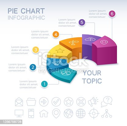 Pie chart 3D infographic isometric six 6 option pie chart info and data design.
