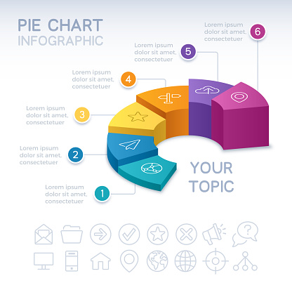 Six Section 3D Infographic Pie Chart