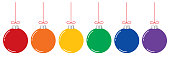 Vector illustration of six shiny Christmas ornament hanging from red strings.