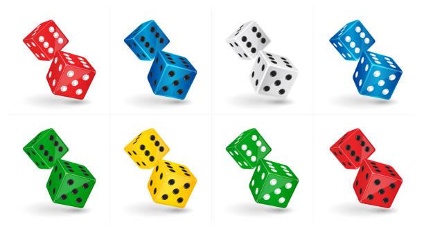 stockillustraties, clipart, cartoons en iconen met zes dubbelzijdige casino dice. gokken sjabloon - dobbelsteen