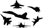 Six silhouettes of fighter planes