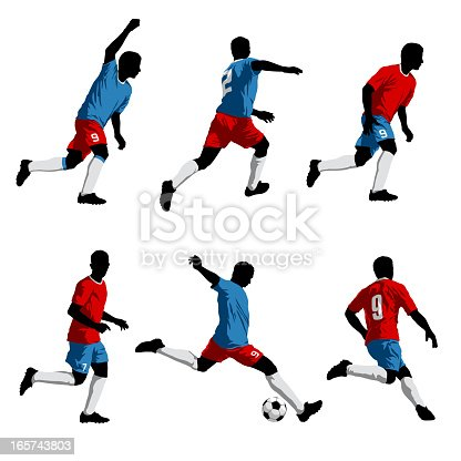 istock Six silhouettes of soccer players 165743803