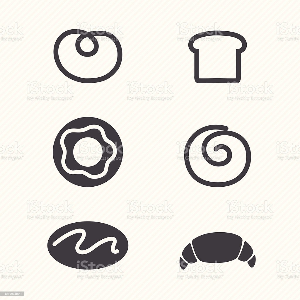 Six simple black bakery food icons royalty-free stock vector art