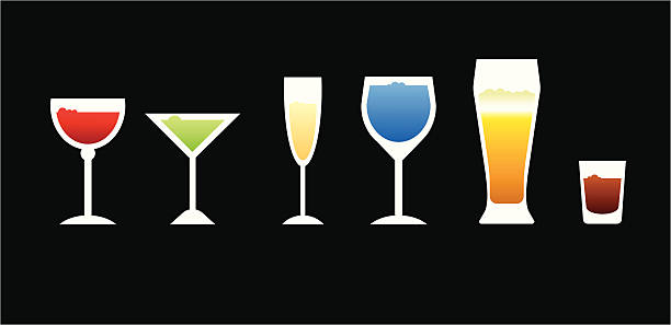 Six simple vector glasses a set of six simple vector shapes representing different drinking glasses. champaign illinois stock illustrations
