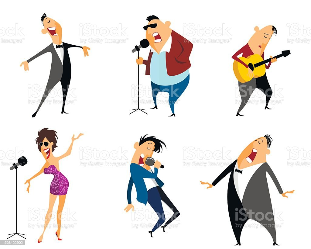 Six singers set vector art illustration