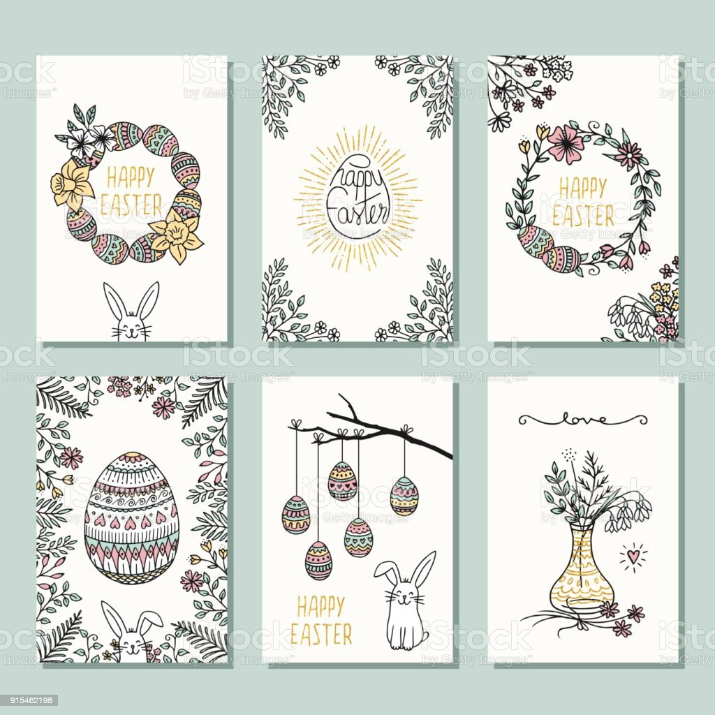 Six small card templates for Easter royalty-free six small card templates for easter stock vector art & more images of art