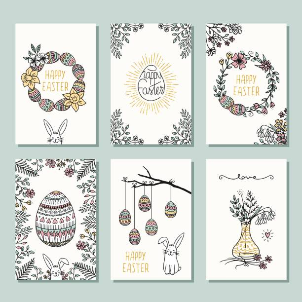 Six small card templates for Easter vector art illustration