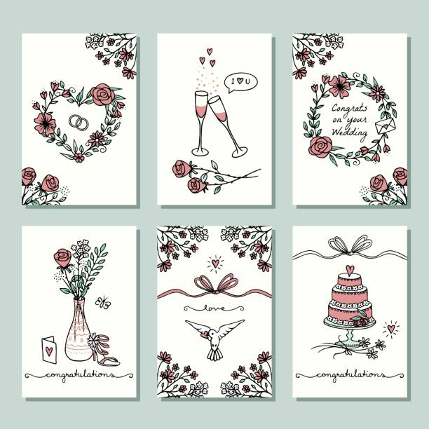 Six small hand drawn wedding cards Set of six hand drawn wedding mini cards, design template with flower wreaths, champagne glasses and wedding cake wedding cake stock illustrations