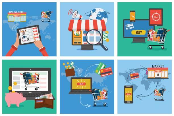 illustrations, cliparts, dessins animés et icônes de six bannière carrée - shopping en ligne - commerce électronique