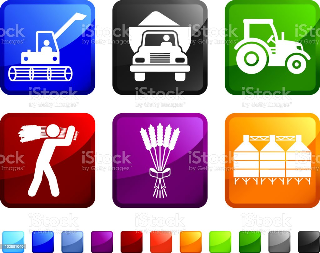 Six square, colored icons with farming pictures on them.  vector art illustration