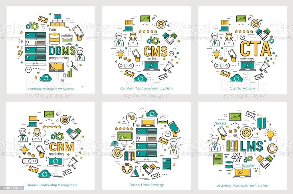 CODING - six square concepts 13-18 vector art illustration