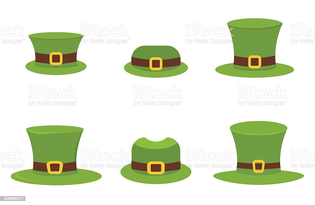 Six St. Patrick's Day hats isolated on white vector. vector art illustration