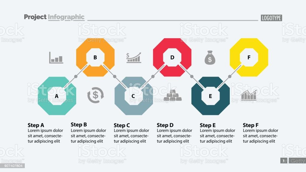 media flowchart template download - six steps flowchart template stock vector art more