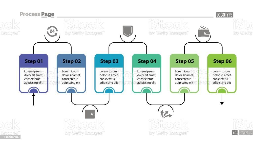 ワークフローの六つのステップ スライド テンプレート つながりの