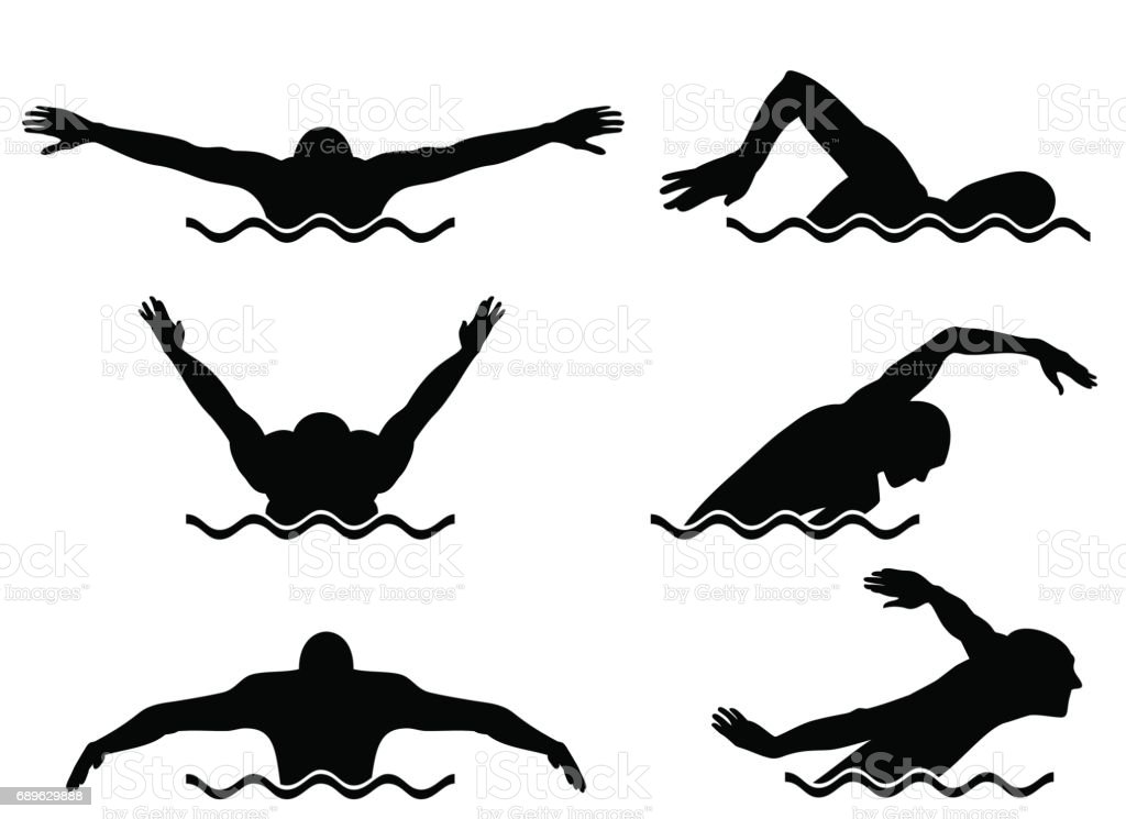 Six swimmers set vector art illustration