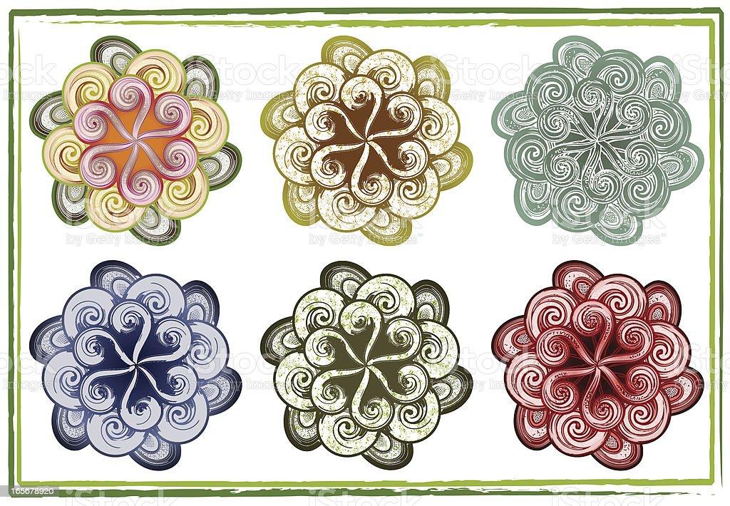 six swirly flowers royalty-free stock vector art