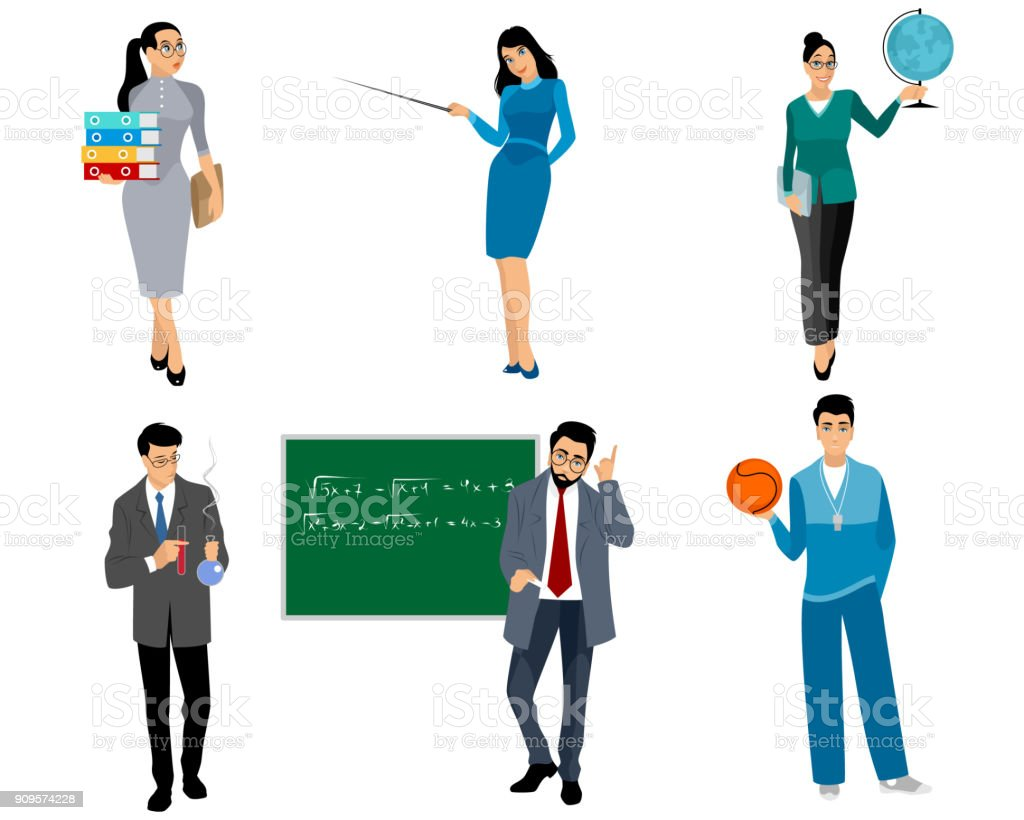 Six teachers on white vector art illustration