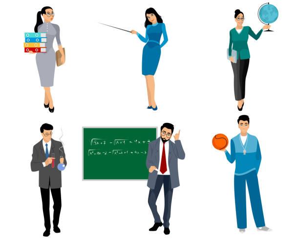 illustrations, cliparts, dessins animés et icônes de six enseignants sur blanc - professeur d'université