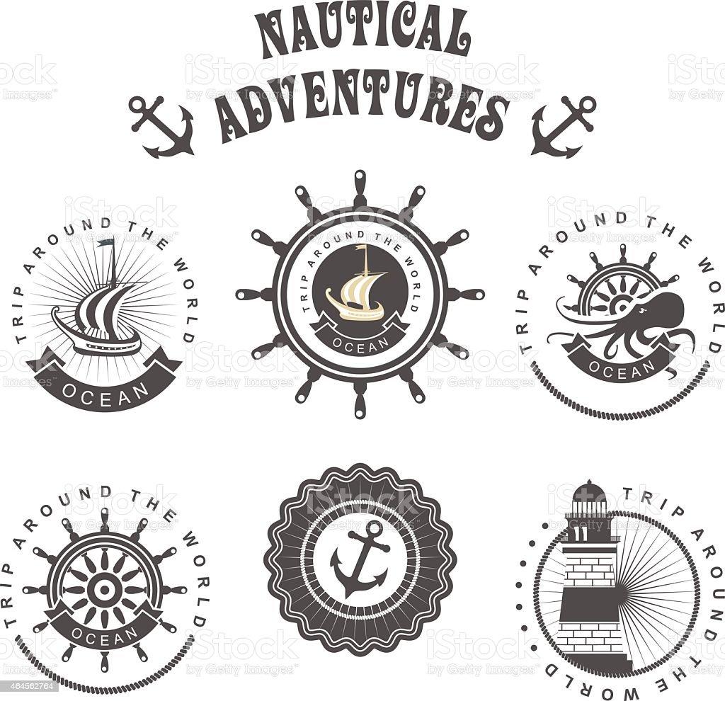 Six tiled icons nautical themed vector art illustration