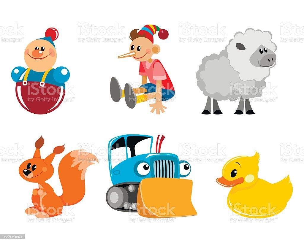 Six toys set vector art illustration