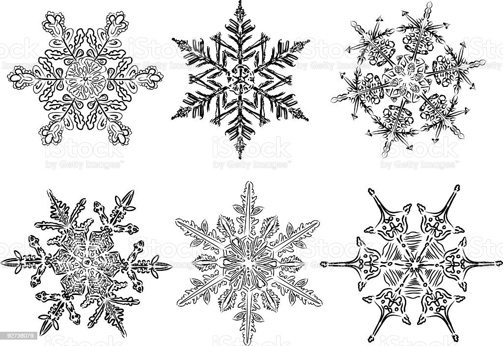 Six Unique Hand Drawn Snowflakes Clipart Icon Set Six unique hand drawn snowflakes.  Abstract stock vector