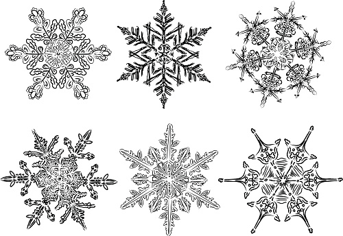 Six Unique Hand Drawn Snowflakes Clipart Icon Set Stock Illustration - Download Image Now