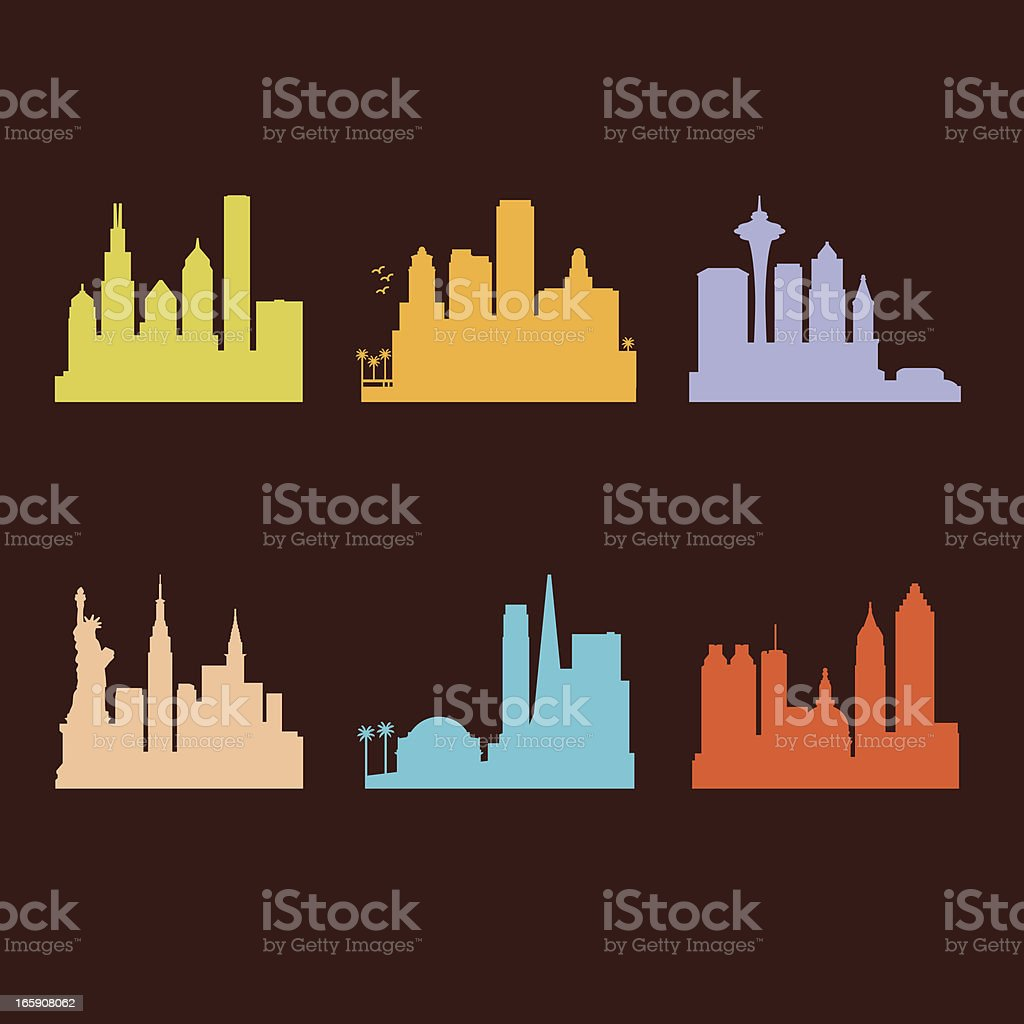Six United States Cities Skyline vector art illustration