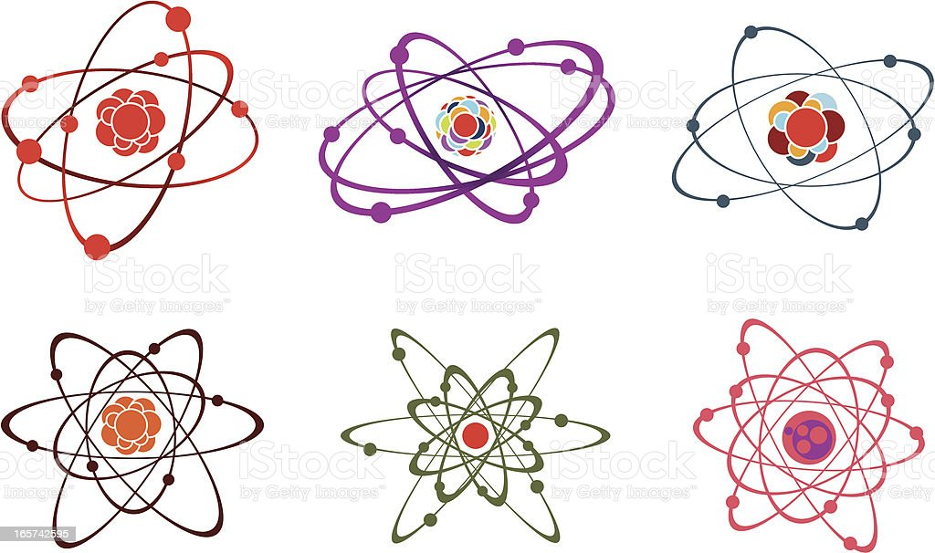 Six variations of the atom in different forms and colors royalty-free stock vector art