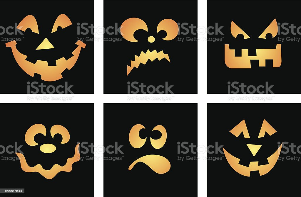 Six Vector Cartoon Faces, Halloween themed, aka Jack O' Lantern royalty-free six vector cartoon faces halloween themed aka jack o lantern stock vector art & more images of 2000-2009