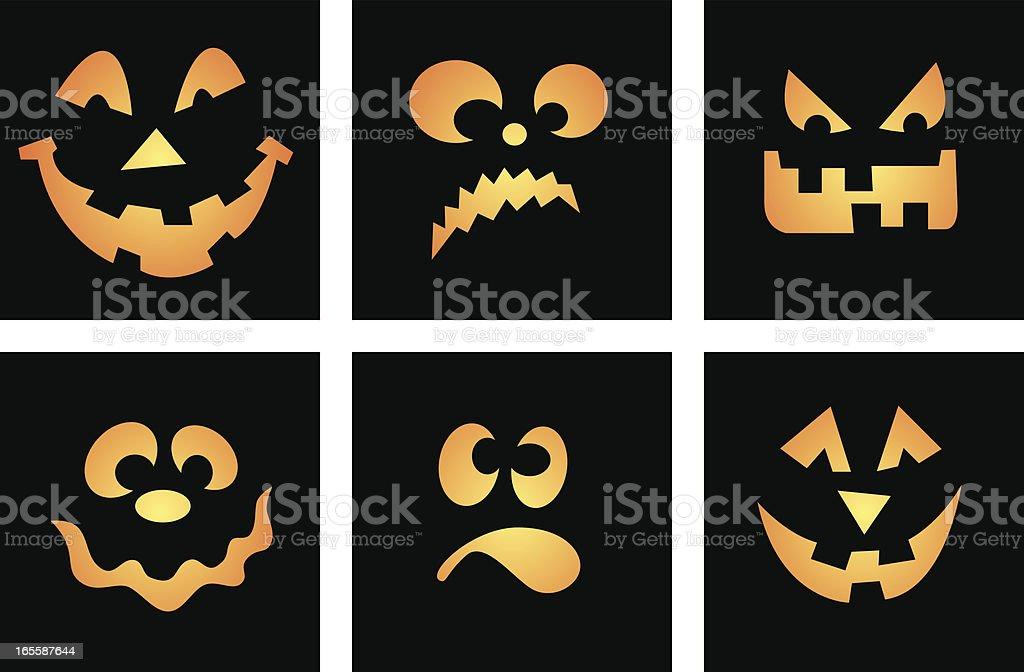 Six Vector Cartoon Faces, Halloween themed, aka Jack O' Lantern vector art illustration
