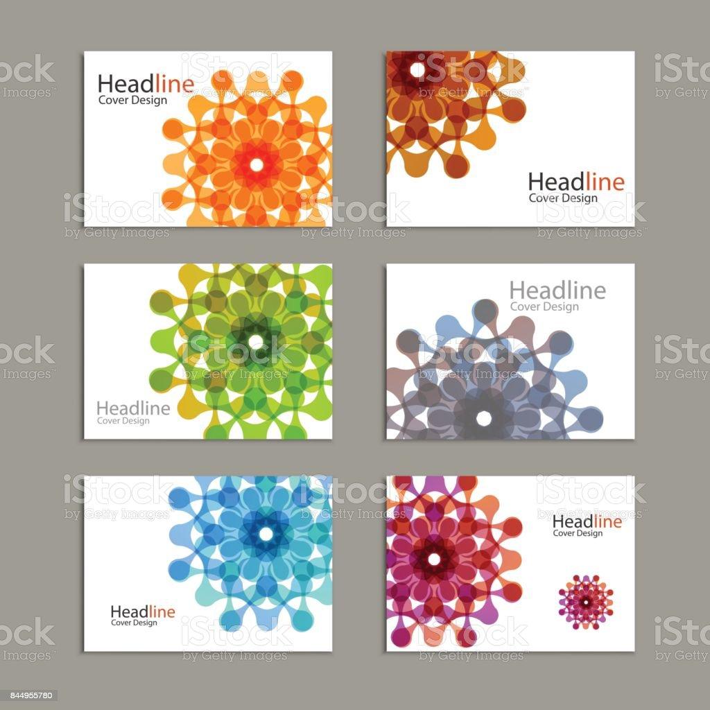 Seis padrão de folheto de vetor com números abstrato - ilustração de arte em vetor