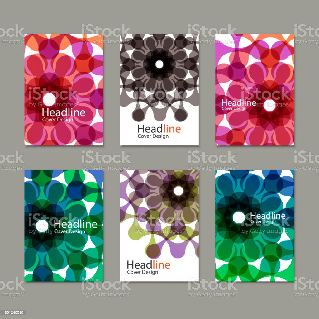 Six Vector pattern brochure with abstract figures vector art illustration