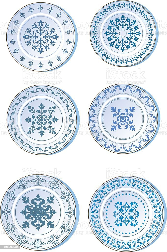Six white plates with blue designs vector art illustration