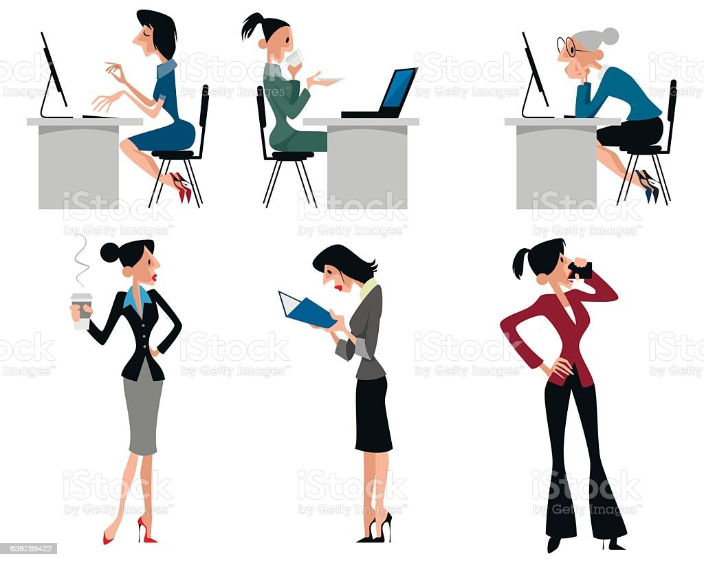 six woman at work stock vector art more images of adult 638289422 rh istockphoto com vector manufacturing ltd vector manager