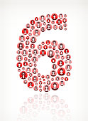 Six Women Faces Girl Power Pattern. This vector collage has pink and red round buttons arrange in seamless patter. Individual iconography on the buttons shows women portraits. Women and businesswomen convey a feeling of girl power unity teamwork and partnership. This royalty free vector background graphic is ideal for your feminism and girl power concepts.